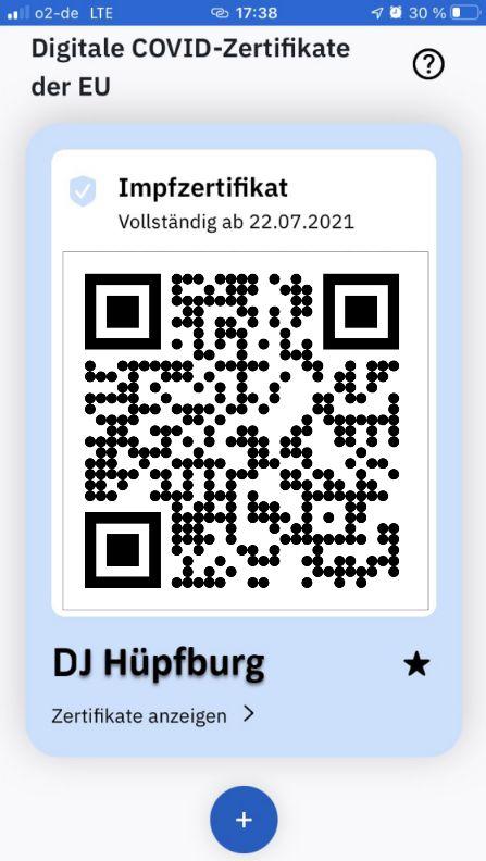 Covid-Impfzertifikat DJ Hüpfburg